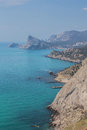 Rocky coastline of novyi svet recreation area crimea ukraine Royalty Free Stock Photo