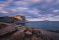 Rocky coastline of novyi svet recreation area crimea ukraine Stock Photos