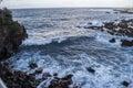Rocky coastline ocean cloudscape tenerife canary islands spain Royalty Free Stock Photography
