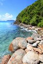Rocky Coastline on Tortola Royalty Free Stock Images