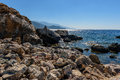 Rocky coastline with turquoise lagoon near Paleochora town on Crete island, Greece Royalty Free Stock Photo