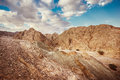 Rocky desert landscape dramatic of the negev in israel Royalty Free Stock Photo