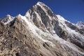Rocky himalayan peak mountain at high altitude near everest base camp Stock Photos
