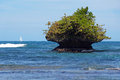 Rocky islet eroded by the waves with a sailboat in background bastimentos island bocas del toro panama Royalty Free Stock Photo