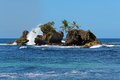 Rocky islets eroded by the sea islet with coconut trees bocas del toro archipelago bastimentos island caribbean panama Stock Photos