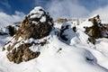 Rocky Mountains auf der Skifahren-Rücksortierung von Arabba Lizenzfreie Stockfotos