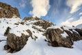 Rocky Mountains auf der Skifahren-Rücksortierung von Colfosco Stockbild