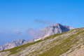 Rocky mountains in caucasus scenery of fisht peaks with blue sky Stock Image