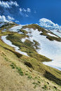 Rocky Mountains Summit with Snow Covered Slopes Royalty Free Stock Photography