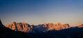 Rocky Mountains at sunset. Beauty world. Dolomite Alps Italy Royalty Free Stock Photo