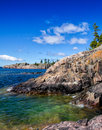 Rocky north shore of lake superior formations at the Royalty Free Stock Photography