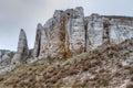 The rocky outcrop is located in upper cretaceous of constantine region donetsk region near village belokuzminovka Stock Photo