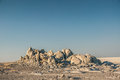 Rocky outcrop a in the makgadikgadi salt pan in botswana near kubu island Stock Image
