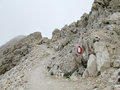 Rocky path in clouds in Apennine Mountain Range Royalty Free Stock Photo