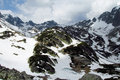 Rocky peaks of tatra mountains covered with snow amazing mountain landscape Royalty Free Stock Photos