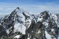 Rocky peaks of tatra mountains covered with snow amazing mountain landscape Royalty Free Stock Image