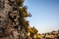Rocky ravine a and barren in a beautiful day with clear blue sky Stock Images