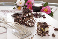 Rocky road sweet chocolate and marshmallow with a long black espresso Stock Images