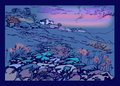 The rocky road to the old town mountain landscape evening with purple sky Stock Photo