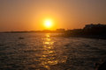 Rocky sea coast on sunset cyprus ayia napa Stock Photography