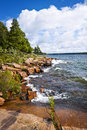 Rocky shore in georgian bay lake of killbear provincial park near parry sound ontario canada Stock Images