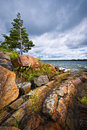 Rocky shore in georgian bay lake of killbear provincial park near parry sound ontario canada Royalty Free Stock Photos
