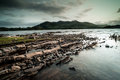 Rocky shore on killarney lake in the ring of kerry Stock Photography