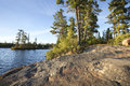 Rocky shore with pine trees on a Boundary Waters lake in Minneso Royalty Free Stock Photo