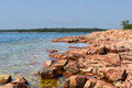 Rocky shore red granite of aland islands finland Stock Image