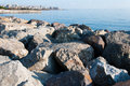 Rocky shore on a seaside avenue near the city Royalty Free Stock Images