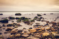 Rocky shore view of the ocean Royalty Free Stock Image