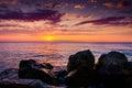 Rocky Shoreline Sunset Royalty Free Stock Photo