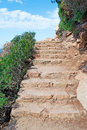 Rocky stair by the shore Royalty Free Stock Photos