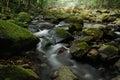Rocky stream water flows along a Stock Photos
