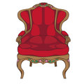 Rococo armchair doodle hand drawn illustration of an antique furniture piece with red upholstery and floral decoration isolated on Royalty Free Stock Photos