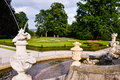 Rococo fountain inside the old garden of the castle of cesky krumlov Stock Photography