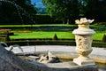Rococo fountain inside the old garden of the castle of cesky krumlov Royalty Free Stock Photos