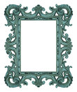Rococo frame shabby blue isolated on white Stock Images
