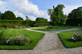 Rococo garden of the castle of cesky krumlov with flowers Royalty Free Stock Photography