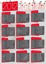 Rocznika lata siedemdziesiąte 2012 kalendarz Obraz Royalty Free