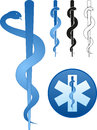 Rod of asclepius the star life whith the in the center Stock Photos