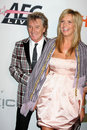 Rod stewart wife penny arriving pre grammy party honoring clive davis beverly hilton hotel beverly hills ca february Stock Photos