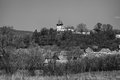 Rodbav church black and white view of transylvanian village of with the on the hill romania Stock Image