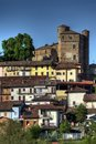 Langhe - Glimpse of the town of Roddi with its imposing castle Royalty Free Stock Photo