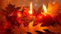 Rode Kerstkaart met Decoratie - de Foto van de Voorraad Stock Fotografie