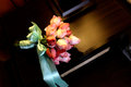 Rode rose hand bouquet wedding flower Stock Foto's