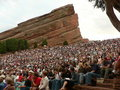 Rode Rotsen Amphitheatre in Morrison, Colorado Stock Foto's