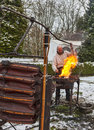Rodemack france december environmental portrait medieval blacksmith working fire reenactment historical festival rodemack france Stock Images