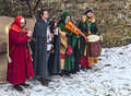 Rodemack france december medieval quartet playing outsied near fortress walls winter day historical reenactment festival rodemack Royalty Free Stock Photo