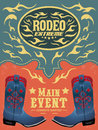 Rodeo Extreme - Cowboy event poster Royalty Free Stock Photo